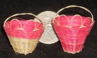 Basket Lacy One Pink #BAS-LACE-P 1:12 Miniature Mexican Import