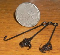 2 Branding Irons & 1 Rustling Iron 1:12 Dollhouse Miniature Cow