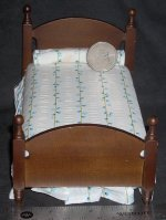 Bed Single Walnut White & Blue Striped 1:12 Miniature #T6144