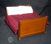 Bed Lincoln Walnut 1:12 Dollhouse Miniatures #T6696