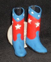 Boots Red-White-Blue Leather 7878 1:12 Miniature Cowboy Cowgirl