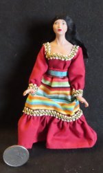 Doll - Woman Hispanic Mexican 1:12 Miniature 0002 Patsy Thomas