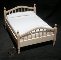 Bed Unfinished Double 1:12 Dollhouse Miniature CLA08690