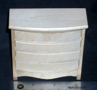 Bureau Chest of Drawers Unfinished 1:12 Miniature CLA08672