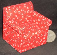 Floral Red Chair 1:12 #CLA10555 1:12 Miniature Furniture