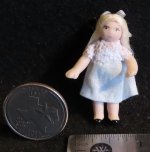 Doll - Doll's Doll Toy - Blonde Hair Blue 1:12 Miniature 1583