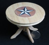 Table Pedestal Texas Star Inlay 1:12 Miniature #5269