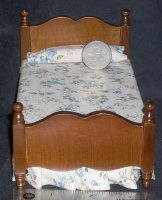 Bed Single Walnut Tan Floral Bedspread 1:12 Miniature #T6062