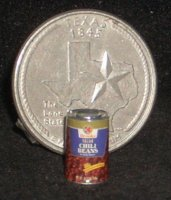 Canned Chili Beans 1:12 Miniature Food Pantry Western Meal