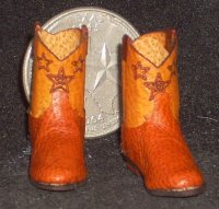 Boots Roper Style Orange Cowboy Star Design 3018 1:12 Miniature