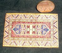 Carpet Oriental Rug Woven Orange Blue 1:12 1:24 Miniature #9223