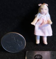 Doll - Doll's Doll Toy - Blonde Hair Pink 1:12 Miniature 3816