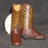 Boots Brown Snakeskin 1:12 Miniature Western Cowboy / Cowgirl