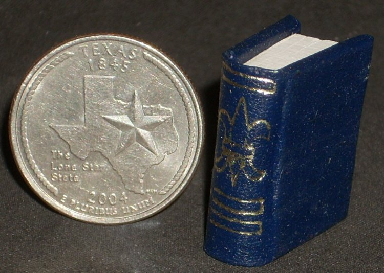Book Gold Embossed Blue #P1006(2)BLU Dollhouse Miniature Books - Click Image to Close