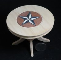 Table Pedestal Texas Star Inlay 1:12 Miniature #4390