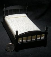 Bed Black Single 1:12 Dollhouse Miniature #T5830