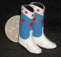 Boots Red-White-Blue Leather #0122 1:12 Miniature Cowboy