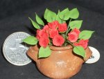 Potted Cut Roses Red & Leaves 1:12 Mini Flower P-OH-FIMO #5477