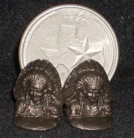 Bookends Indian Chief, Bronze #M58A 1:12 Dollhouse Miniature