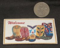 Welcome Mat ' Boots Welcome ' 1:12 Dollhouse Mini Texas Porch