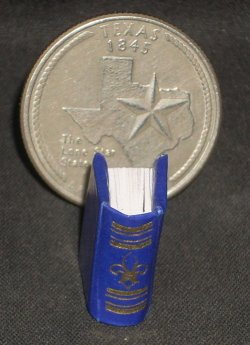 Book Gold on Blue Embossed #P1006BLU Dollhouse Miniature Books