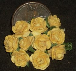 Yellow Rose of Texas Medium Gold Open 1:12 Miniature #0708