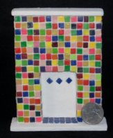 Mexican Confetti Colored Tile Fireplace 1:12 Dollhouse Miniature