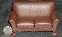 Brown Leather Loveseat Sofa Couch 1:12 Miniature P6093