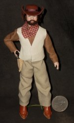 Doll - Man Black Cowboy Western 1:12 Miniature Cindy's #0907