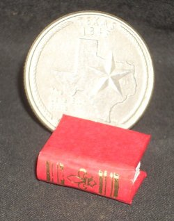 Book Gold on Red Embossed #P1006R Dollhouse Miniature Books