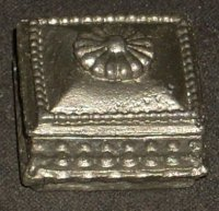 Box Jewelry or Game Pewter Colored 1:12 Dollhouse Miniature