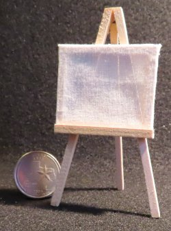 Small Unfinished Canvas & Easel 1:12 Miniature MA8889