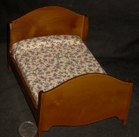Bed Double Walnut 1:12 Dollhouse Miniatures #T6373