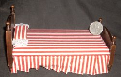 Bed Single Walnut Red & White Striped 1:12 Miniature #T6144