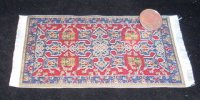 Carpet Oriental Rug Woven Red Blue Yellow 1:12 Miniature #1170