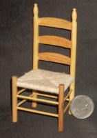 Chair Ladder Back Side Rope Woven Seat 1:12 Miniature #T4293