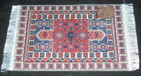 Carpet Oriental Rug Woven Red Blue Ivory 1:12 Miniature #5310
