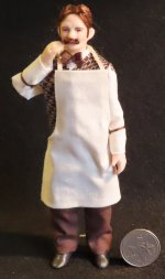 Doll - White Man Shopkeeper Bartender 1:12 Mini 7202 Cindy's