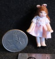 Doll - Doll's Doll Toy - Brown Hair Pink 1:12 Miniature 4786