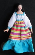 Doll - Woman Female Mexican Vibrant Dress 1:12 Miniature 1894