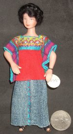 Doll - Woman Hand Stitched Huipil 1:12 Miniature #9201