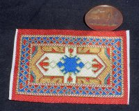 Carpet Oriental Rug Woven Orange Blue 1:12 1:24 Miniature #3156
