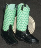 Boots Green Snakeskin 8739 1:12 Western Miniature Cowboy Cowgirl