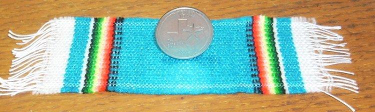 Serape Blanket Medium Blue 1:12 Dollhouse Mexican Miniature Rug Carpet