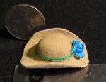 Cowgirl Hat Natural Blue Bow New 1:12 Miniature L504 - 1247