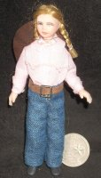 Doll - Cowgirl Girl w/ Pink Shirt & Blue Jeans #1054