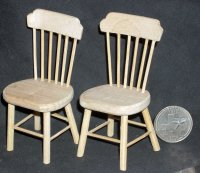 2 Chair Chairs Unfinished 1:12 Miniature GW053 Seating
