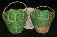 Basket Lacy One Green #BAS-LACE-G 1:12 Miniature Mexican Import