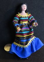 Doll - Woman Female Mexican Vibrant Dress 1:12 Miniature 4676