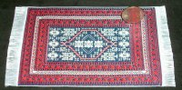 Carpet Oriental Rug Woven Red Blue Ivory 1:12 Miniature #8887